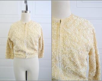 1950s Cream Sequin Cashmere Cardigan Sweater