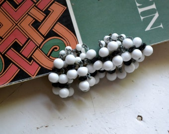 1960s White Bead Cluster Dangle Clip Earrings
