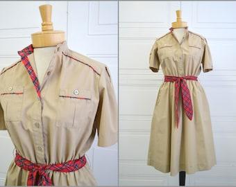 1980s Khaki and Plaid Shirt Dress