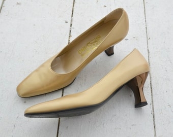 1990s Salvatore Ferragamo Metallic Gold Heels, Size 8AA