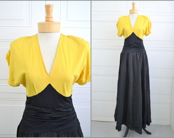 1940s Yellow and Black Evening Gown