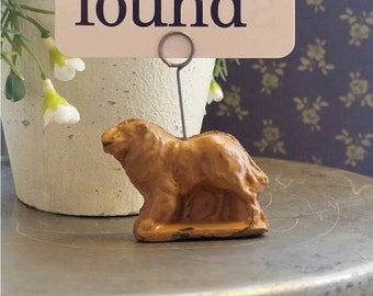 Dog card holder,Auburn rubber antique toy,Dog place card holder,Collie dog,Spring decor flashcard art