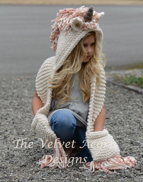 Knitting Pattern For Unicorn Hooded Scarf : Knitting PATTERN-The Unice Unicorn Hooded Scarf 12/18 months