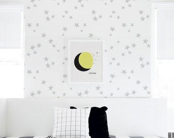 Removable Wallpaper, Gray Stars Wallpaper, Peel and Stick Nursery Removable Wallpaper, Baby Self-Adhesive Wallpaper. Seeing Stars Wallpaper