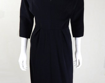 Original 1940s Vintage Black Wool Dress UK Size 6