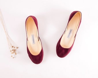 Wine Red Suede Leather Ballet Flats | Dark Purple Luxurious Ballerinas | Women's Flat Shoes | Dark Wine Red... Made to Order
