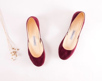 Wine Red Suede Leather Ballet Flats | Dark Purple Luxurious Ballerinas | Women's Flat Shoes | Dark Wine Red | Ready to Ship