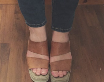SALE 1970s Leather Wedges - size 7