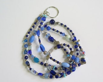 Eye Glass Holder Necklace - Colorful Glass Beads Silvertone Metal Findings and Silvertone Accent Beads -  Lots of Blue Glass Beads