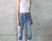 levis 501, 70s - 80s vintage Levis 501 faded indigo denim jeans w/ polka dot + embroidered flower panels, boho hippie diy, womens small