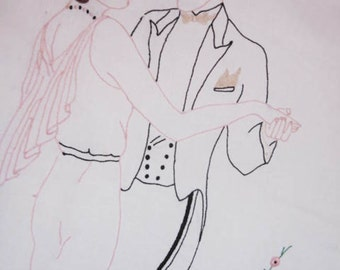 Late Deco Period Apron Ballroom Dancing Couple in Black & White and Pink.