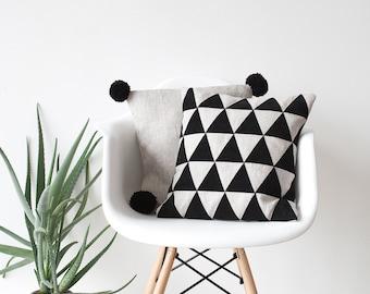 Leather Triangles applique linen pillow