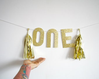 Gold Glitter One Banner - 1st birthday party decorations, first birthday party high chair banner, gold birthday garland, photo booth prop