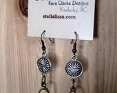 Brass & Silver Earrings - antique brass, silver, short dangle, oval, circle flower charm, bohemian, eclectic, earthy