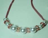 Pink and White Peal and Crystal Necklace with matching Dangled Earrings