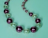 Wine and White Pearl Necklace with Dangled Earrings