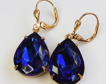 Earrings vintage Sapphire Blue old hollywood estate elegaant special occasion Weddings Bridal