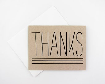 Rustic Thanks: Single or Set of 8 Thank You / Stationery Cards