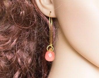Salmon Quartz Drop Earrings in 24k micron Gold Minimalist Jewelry Gold Earrings Statement Earrings Pink Quatrz Drop Earrings
