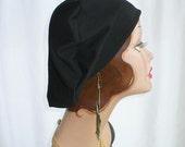 Oversize Black Cotton Jersey Beret, Chemo Hat