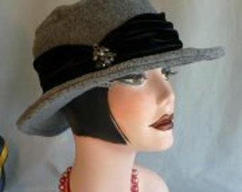 Gray Heather Brim Hat/Fedora with Velvet Band