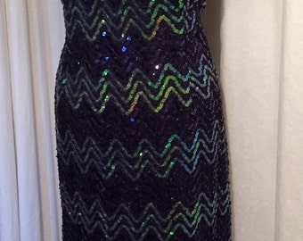 Stunning Vintage 1970s 1980s fully sequin ombre hourglass wiggle cocktail dress XL larger size rockabilly VLV 1950s style
