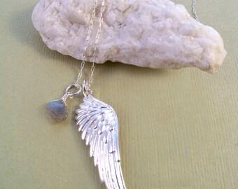 Sterling Silver Angel Wing & Labradorite Necklace-Zen Jewelry