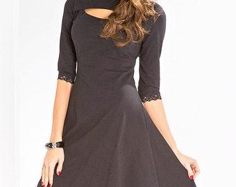 Elegant black dress. Dress for dancing. Evening dress.