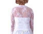 Wedding Bolero Lace Bridal Shrug Eyelash Ivory Cap Sleeve Short Three Quarter Long Dentelle Chantilly Jacket : MARLENE Custom Size S/M/L