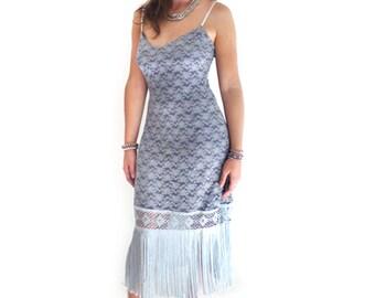 Retro 1920s Dress, Great Gatsby Dress, Flapper Dress, Flapper Costume,Roaring 20s Dress,Downtown Abbey ,Silver Grey,Lace Dress, Custom Made