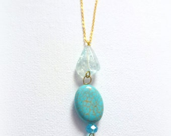 OOAK long turquoise gold necklace- dangle necklace- nature stone necklace- elegant women gift- for her birthday- light blue quartz stone