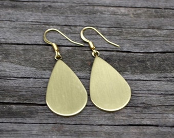 Antiqued Matte Gold Teardrops . Earrings