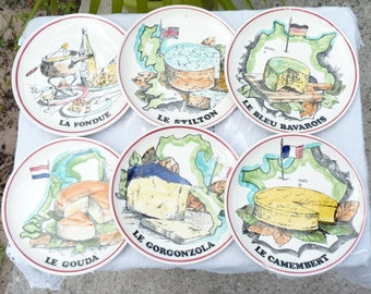 Six Vintage French Gien Cheese Plates - Hand Painted - Assiettes Fromages - GIEN FRANCE - Collectibles - Rustic Decor -Autumn Vintage Finds