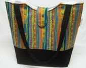Emma Tote Bag in Laurel Burch Stripe