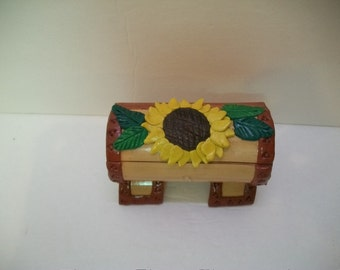 Vintage Toothpick Holder, Sun Flower Toothpick Holder, Wood and Clay Tooth Pick Holder, Wood and Clay Box, Mexican Art, OutSider Art,