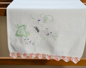 Vintage Tea Towel Table Runner Handkerchief with Embroidered Flowers and Crochet Edge