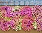 8 Small Pink, Orange, and Yellow Hand Dyed Crochet Doilies, 2.5 inch Crochet Mandalas for Crafts