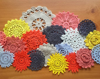 20 Halloween Colors, Hand Dyed Vintage Crochet Doilies, Small Craft Doilies in Orange, Black, Yellow, Beige, and Gray