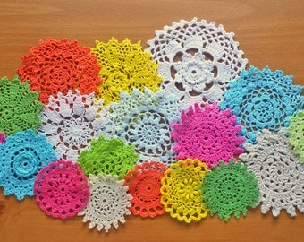 18 Colorful Mandala Doilies, Hand Dyed Vintage Crochet Doilies, Small Craft Medallions, 2, 3, 4, 5 inch Doilies