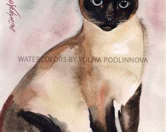 Siamese Cat Printable Image of Original Watercolor Painting Instant Download Art Digital Print Picture Wall Decor Artwork with Cat