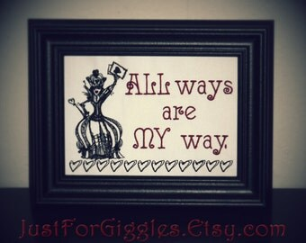 """Queen of Hearts  5x7 inch Framed Embroidery """" My Way """"  Alice in Wonderland sign Through the Looking Glass fan gift Lewis Carroll literature"""