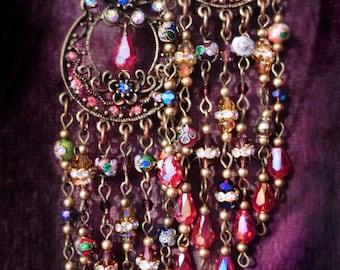 Extra Large Bohemian Gypsy Pendulum Chandelier Earrings By