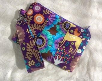 Clutch Wristlet Small Purse Bright Purple Flowers Nature
