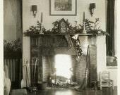 "Vintage Photo ""Waiting for Santa"" Christmas Stocking Fire Snapshot Old Photo Black & White Photograph Found Paper Ephemera Vernacular - 143"