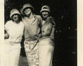 "Vintage Photo ""The Three Dark Forest Explorers"" Snapshot Antique Photo Black & White Photograph Found Paper Ephemera Vernacular - 25"
