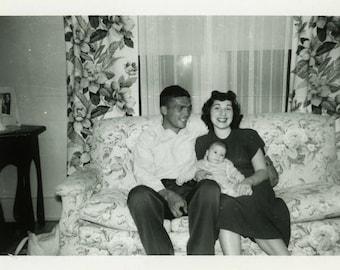 "Vintage Photo ""New Baby Smiles"" Snapshot Antique Photo Black & White Photograph Found Paper Ephemera Vernacular - 198"