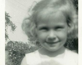 "Vintage Photo ""Close Up Cutie"" Weird Snapshot Photo Old Antique Photo Black & White Photograph Found Photo Paper Ephemera Vernacular - 140"