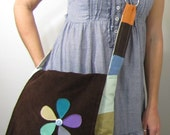 Happy Hippie Patchwork Messenger Bag with Flower