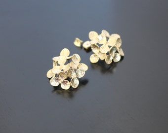 Matte Gold Plated Cherry Blossom Flowers Earring Post, 1 pair/2pc, K317915