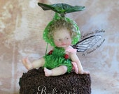 OOAK Baby Fairy - Art Doll Sculpted From Polymer Clay - Pure Art Sculpture - Waiting for the Rainbow